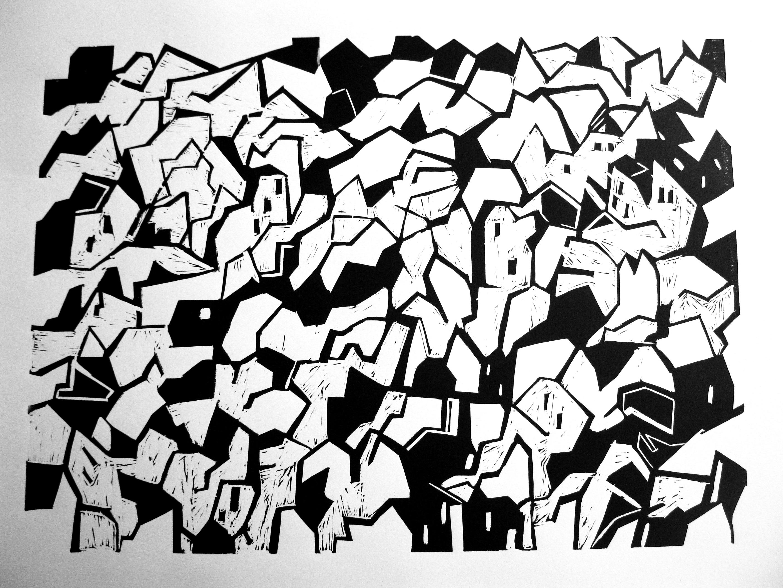 DobrawaBies,Miasto(czarne)60x80cm,2013,linoryt