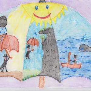 """III miejsce: Marek Godyń, l.10, """"Podróżny parasol"""""""