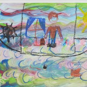 """II miejsce: Nikola Bonior, l. 9, """"Hrabia Potocki na morzu ogląda zachód słońca"""""""